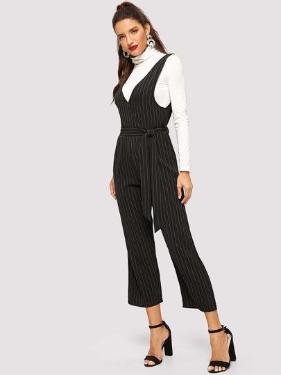 2dfe6698e122 Tie Waist Straight Leg Striped Jumpsuit