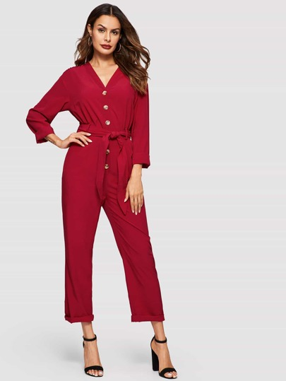 c39fe485db45 Button Front Tie Waist Jumpsuit
