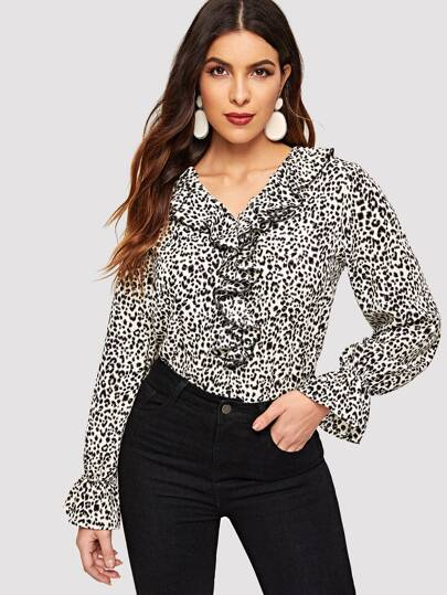 Färgrikedom Krås Leopard Tillfällig Blusar d621a978a8b2a