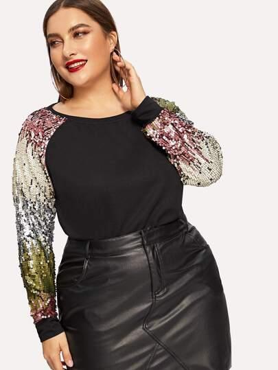421d77a4a3 Plus Contrast Sequin Raglan Sleeve Pullover