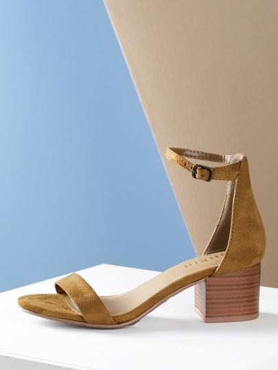 f6235b13cd9 Open Toe Chunky Heel Ankle Strap Sandal