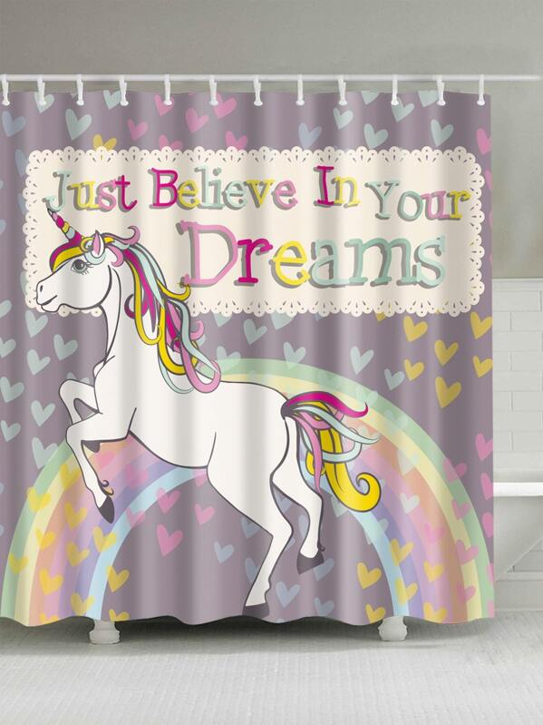 Unicorn Print Shower Curtain With 12pcs Hook