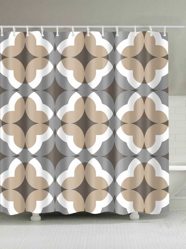 Geometric Pattern Shower Curtain With 12pcs Hook
