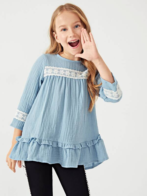 Toddler Girls Contrast Lace Ruffle Hem Babydoll Blouse