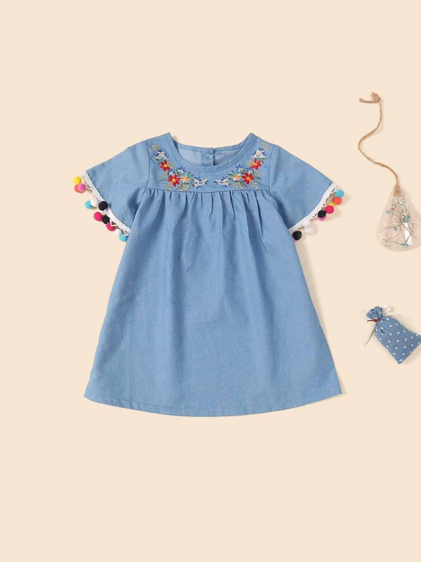 Toddler Girls Button Back Pom Pom Trim Floral Embroidery Dress