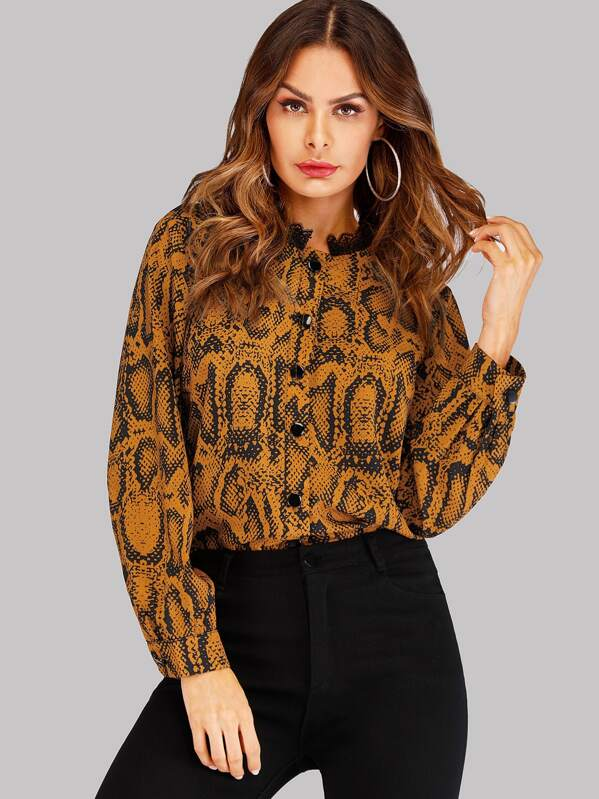 Snake Print Contrast Lace Blouse by Sheinside