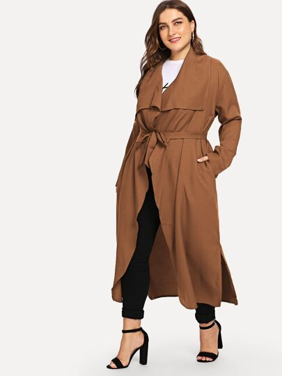 e323e76bb60 Plus Waterfall Belted Longline Coat