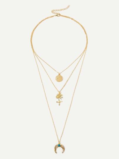 c49c69e0b9c0 Collar de cadena a capas colgante de flor y redondo