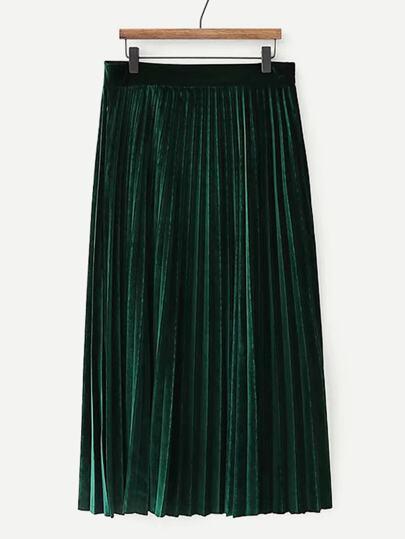 4b0e4f03f43 Solid Velvet Pleated Skirt