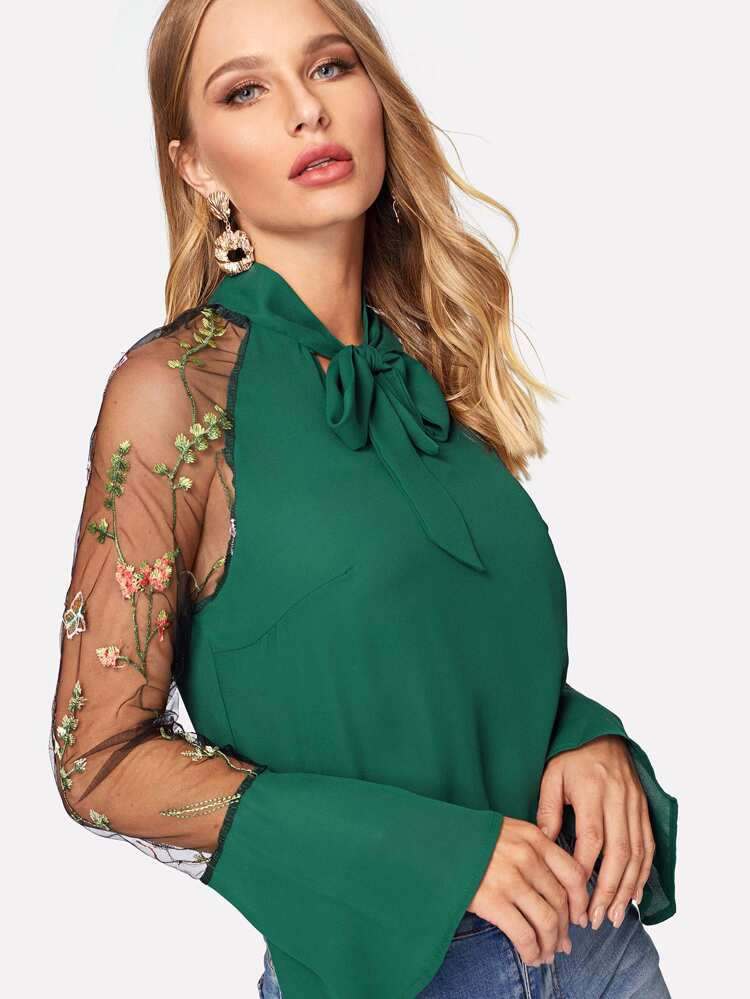 1aea5854d6 Embroidered Mesh Flounce Sleeve Tie Neck Blouse   SHEIN