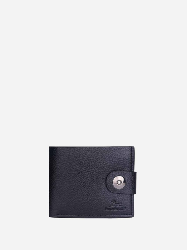 Men Magnetic Button Fold Over Wallet