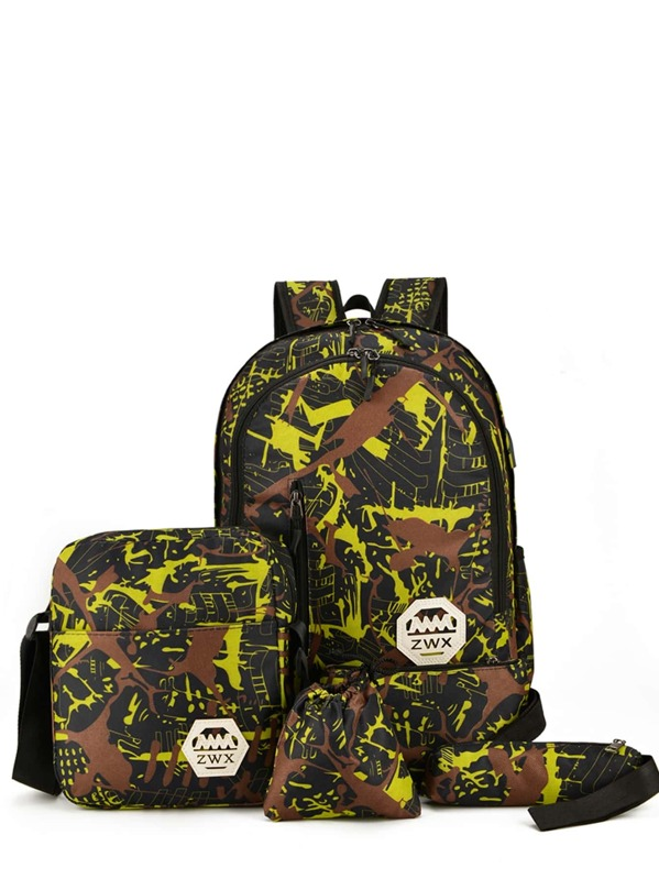Men Camouflage Print Backpack With Crossbody 4pcs