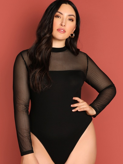 26f92527e85 Plus Mock-neck Mesh Yoke Form Fitting Bodysuit