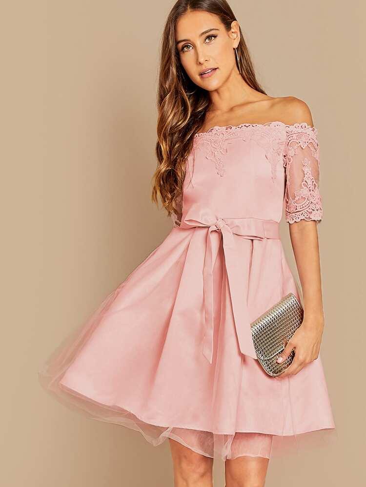 3610080f Guipure Lace Bardot Mesh Flare Prom Dress   SHEIN