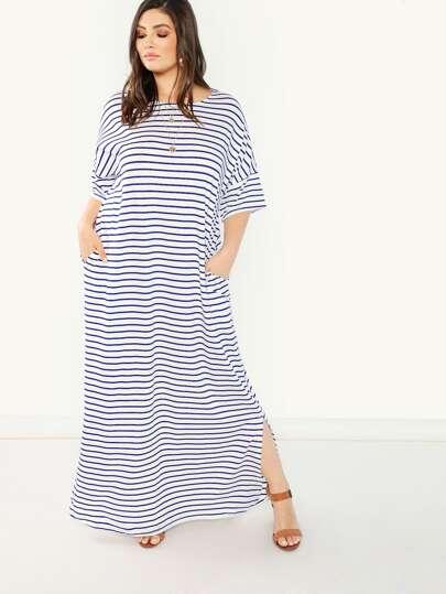 de7b6b55ab Plus Pocket Side Slit Hem Striped Dress
