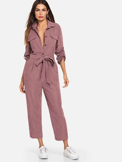 1e9eecea1aa2 Pocket Patched Placket Solid Jumpsuit