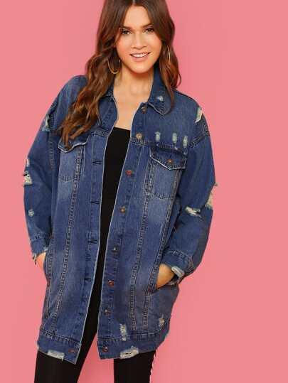 40f619cc23b63 Vestes en jean de Femme-French SheIn(Sheinside)