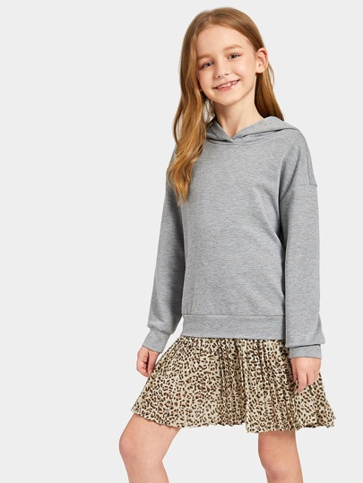 Girls Pleated Leopard Hem 2 in 1 Hoodie Dress