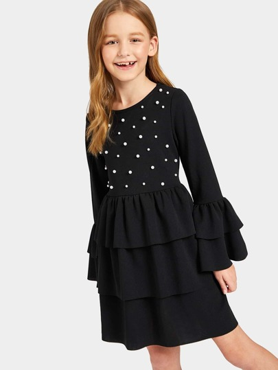Girls Pearls Beaded Flounce Sleeve Layered Dress