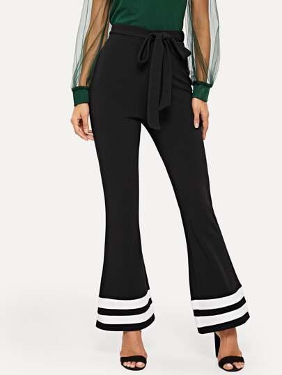 Pantalones bajo amplio de rayas con cinturón 7e3efb24912