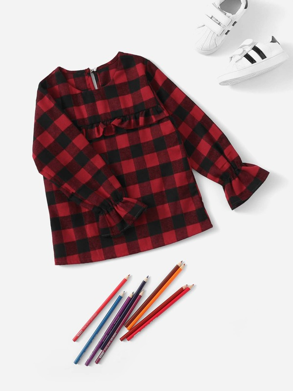 Toddler Girls Keyhole Back Frill Trim Check Plaid Blouse