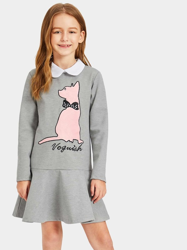 Toddler Girls Contrast Collar Cat Print Sweat Dress