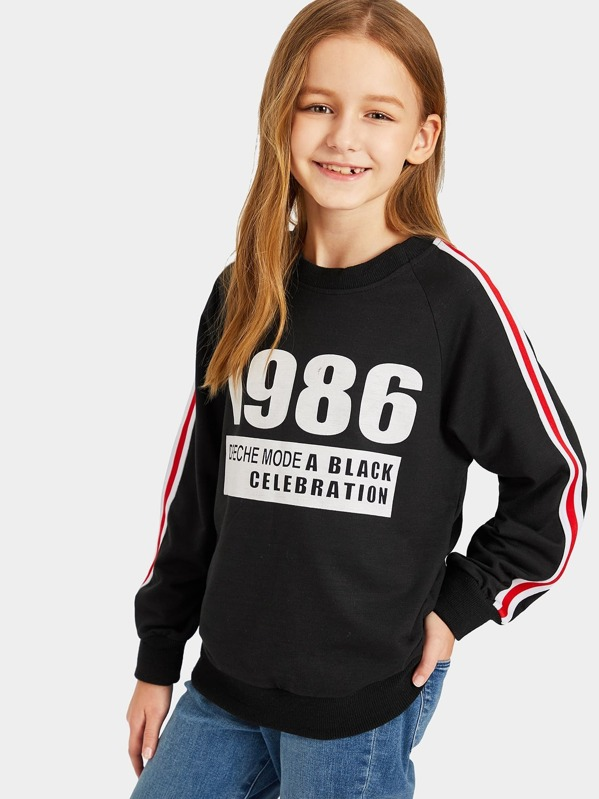 Toddler Girls Contrast Striped Sleeve Letter Print Sweatshirt