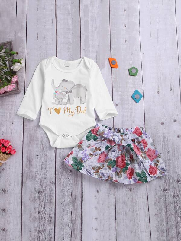 Toddler Girls Elephant Print Jumpsuit With Floral Print Skirt