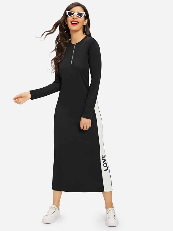 Zip Half Placket Letter Print Split-back Longline Dress