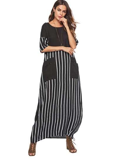 Vestido largo con estampado de rayas con diseño de bolsillo 9c24750b3e15