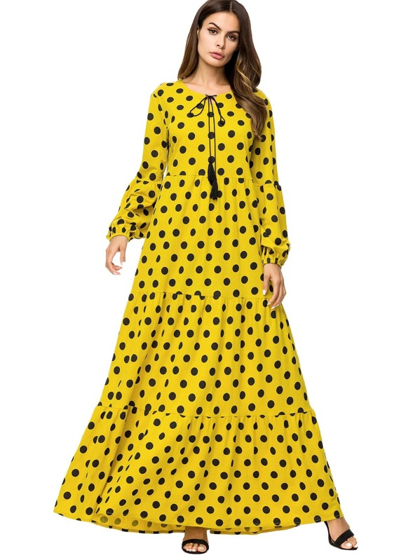 Polka Dot Tie Neck Bishop Sleeve Longline Dress
