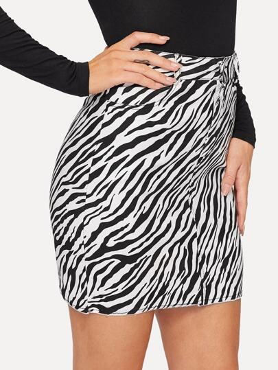3394ec48bbfa6 Zebra Print Denim Skirt