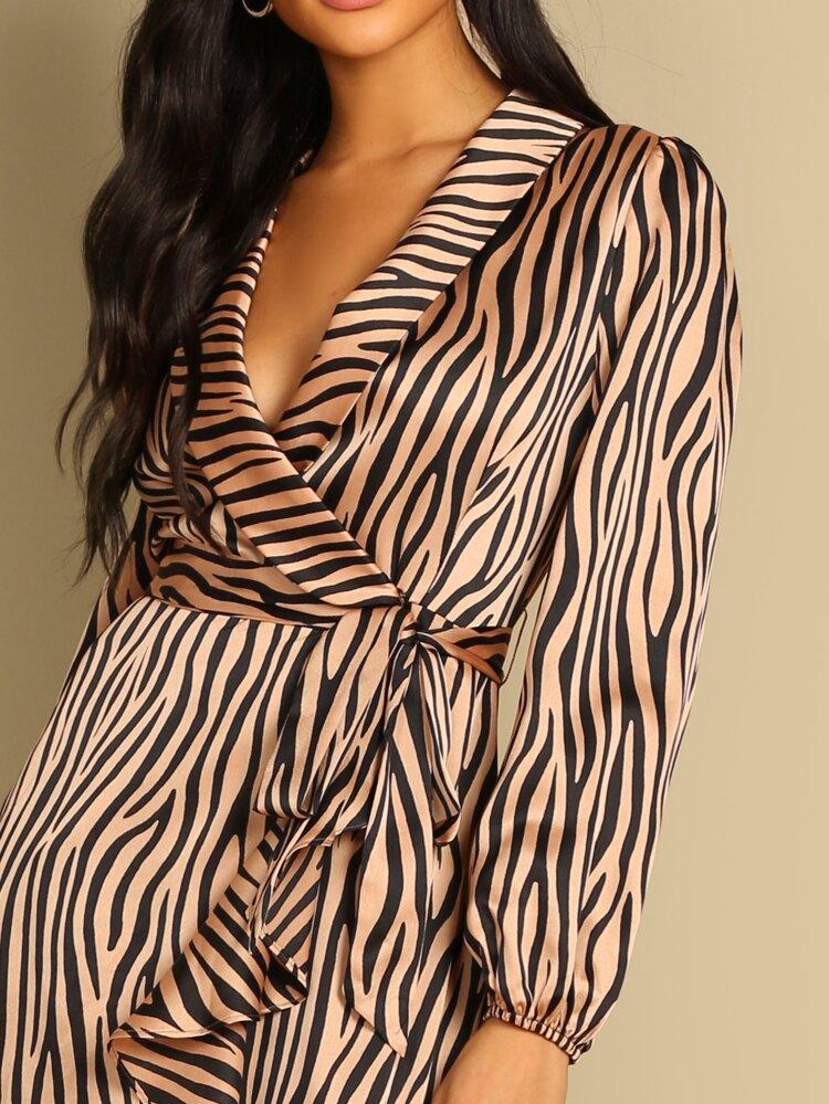 be191557d84 Surplice Wrap Ruffle Hem Zebra Dress