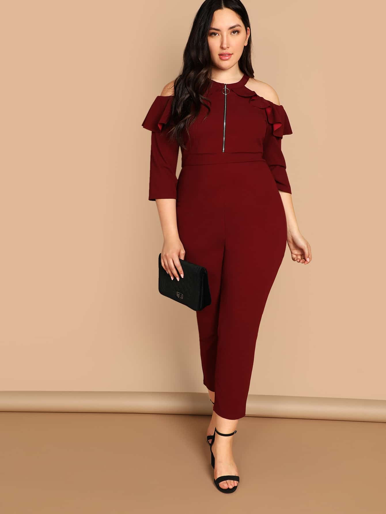 04221d16e0f Plus Off Shoulder Embroidered Eyelet Belted Striped Jumpsuit -SHEIN ...