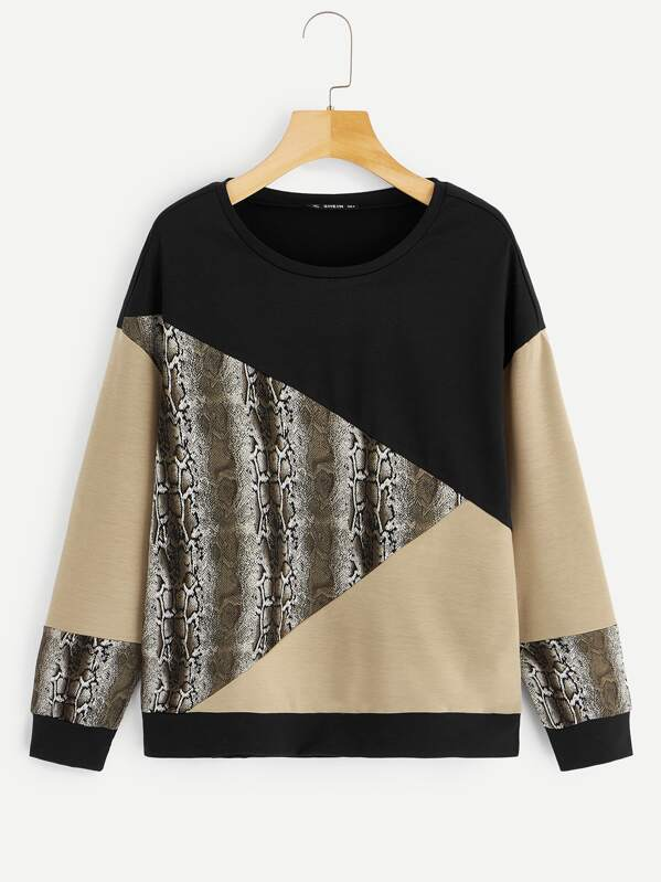Cut-and-sew Snake Print Sweatshirt