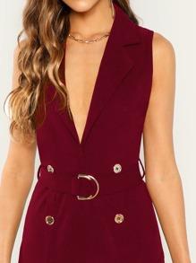 bda70da7c7 Double Button Deep V Neck Belted Slit Dress