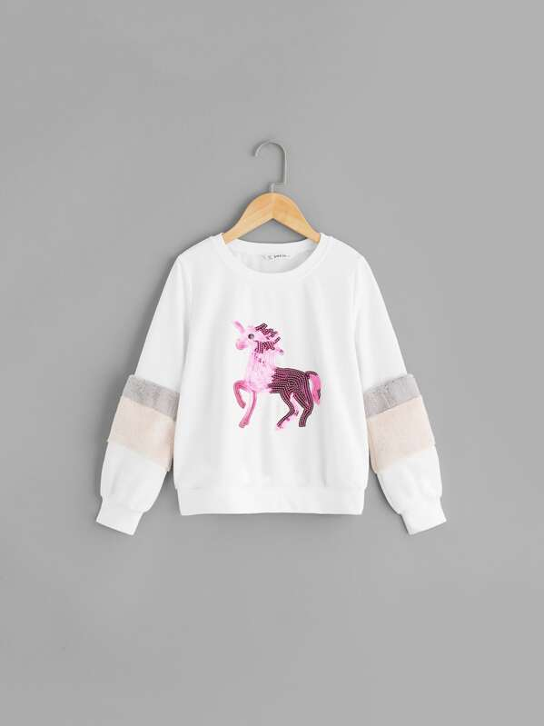 Girls Contrast Faux Fur Sequin Animal Detail Pullover