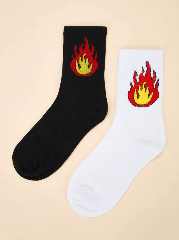 Men Flame Pattern Ankle Socks 2pairs