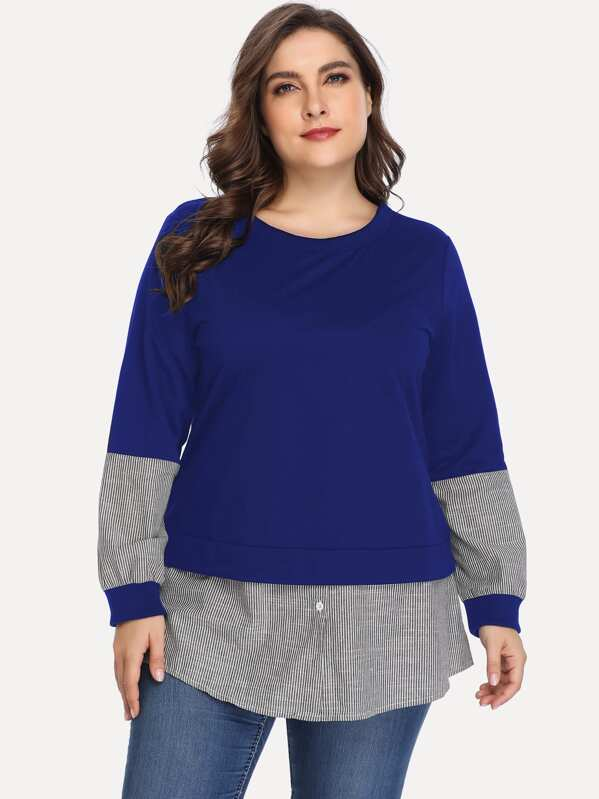 Plus 2 In 1 Striped Panel Sweatshirt