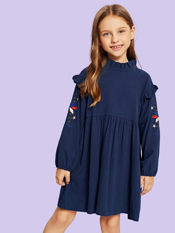 Toddler Girls Floral Embroidery Frill Trim Dress