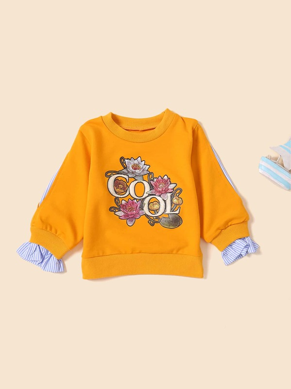 Toddler Girls Contrast Sleeve Floral Print Sweatshirt
