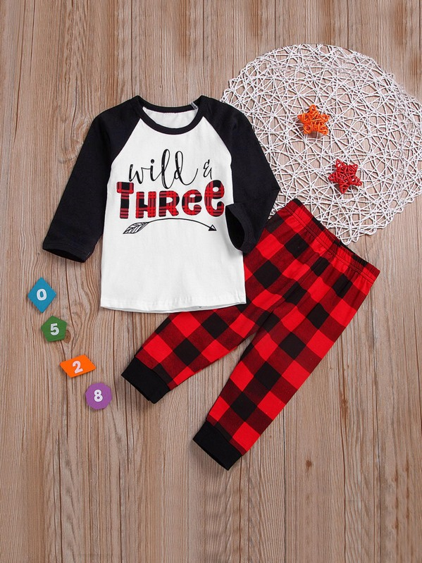 Toddler Girls Letter Print Tee With Check Plaid Pants