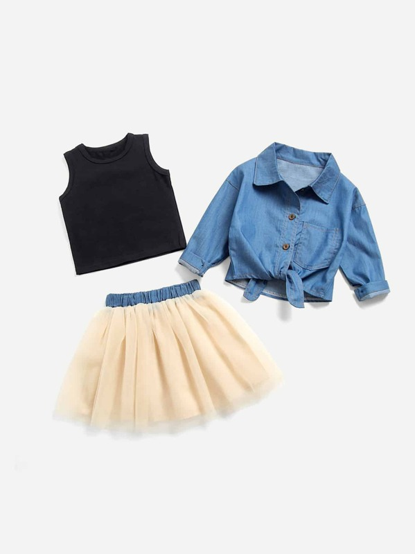 Toddler Girls Knot Hem Denim Shirt & Tank Tee & Mesh Skirt