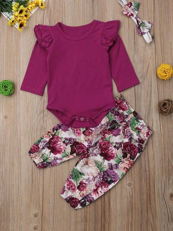 Toddler Girls Frill Trim Jumpsuit & Floral Print Pants & Headband
