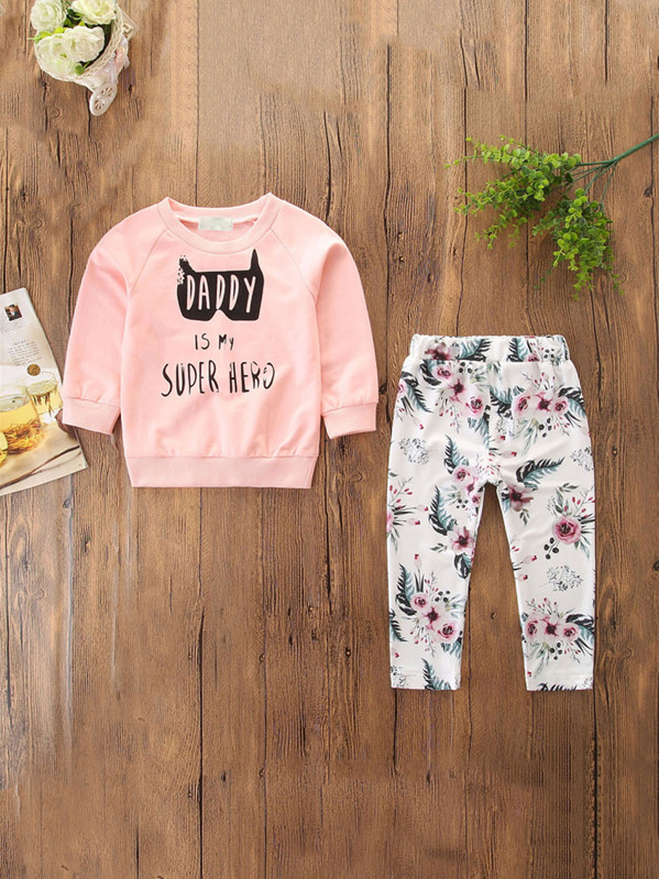 Toddler Girls Letter Print Sweatshirt With Floral Print Pants
