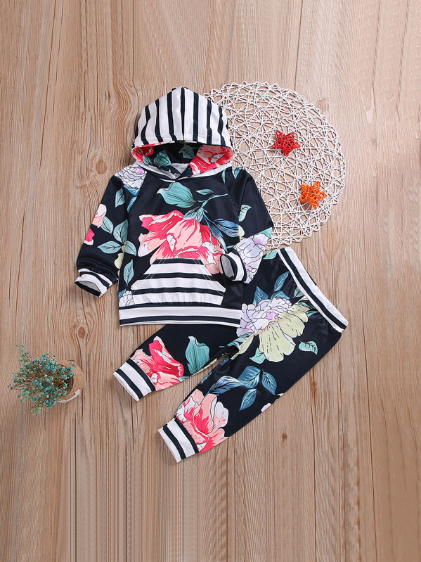Toddler Girls Floral & Stripe Print Hoodie With Pants