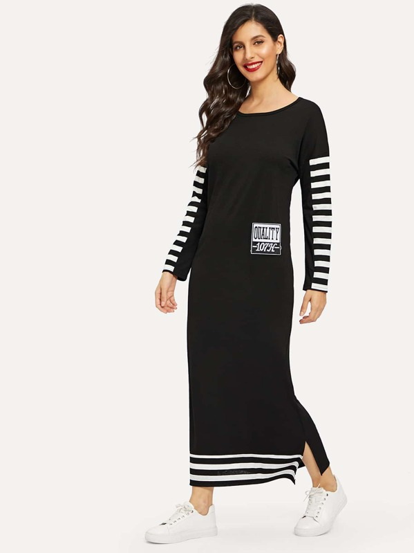 Letter Embroidered Split-side Striped Sweatshirt Longline Dress