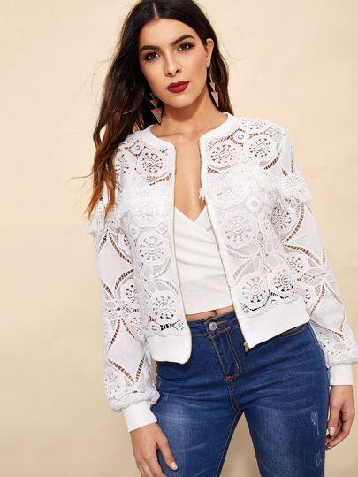 64d369c511c1 Cut-out Fringe Zip-up Lace Jacket