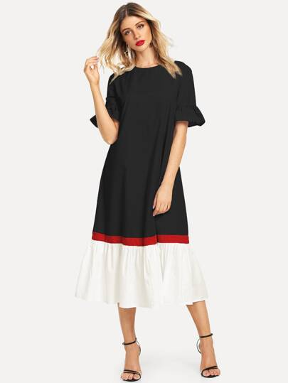 Color-block Ruffle Cuff   Hem Dress f9c99a153