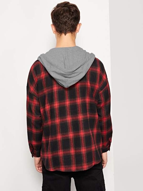 1052a766e26 ... Men Curved Hem Plaid Hooded Shirt -SheIn(Sheinside) 100% quality d39bb  7a2e8  Autumn Men Hoodie ...